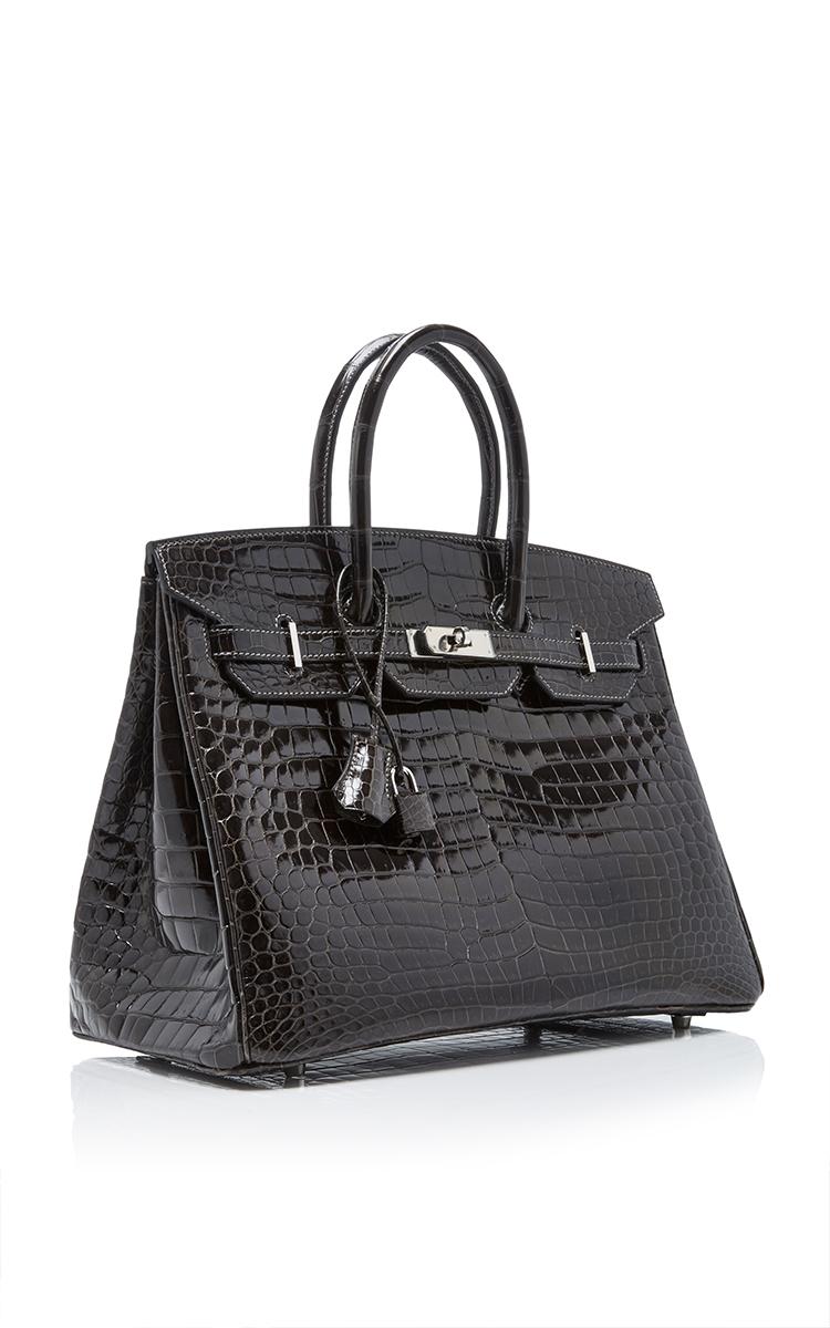 Hermes VintageHermes 35cm Graphite Shiny Porosus Crocodile Birkin. CLOSE.  Loading. Loading 063712ec0993f