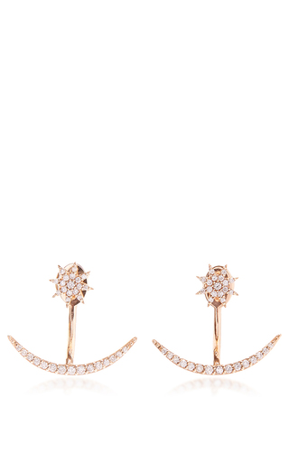 Medium bee goddess rose gold venus star white diamond studs and ear jackets