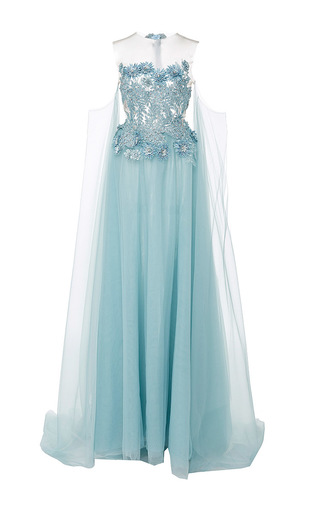 Medium lana mueller blue petunia embellished floral applique gown
