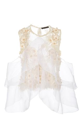Medium lana mueller neutral camellia embellished floral applique blouse