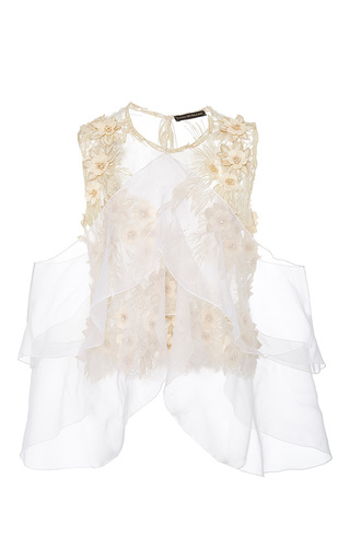 Medium lana mueller neutral camellia embellished floral applique blouse