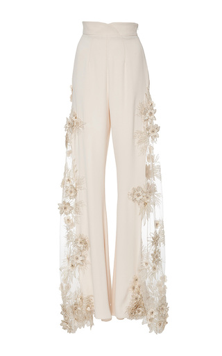 Medium lana mueller neutral malva embellished floral applique pants