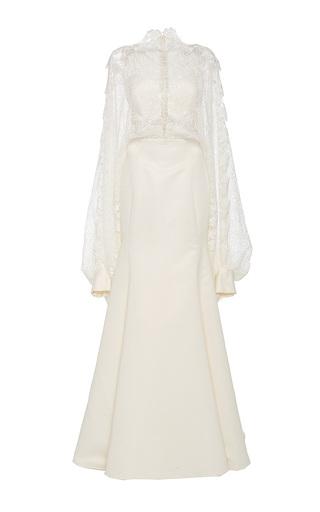 Medium lana mueller white linnea peasant sleeve floor length dress