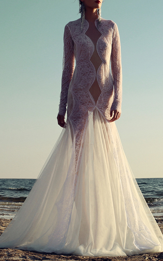 Medium costarellos white lace and tulle trumpet gown