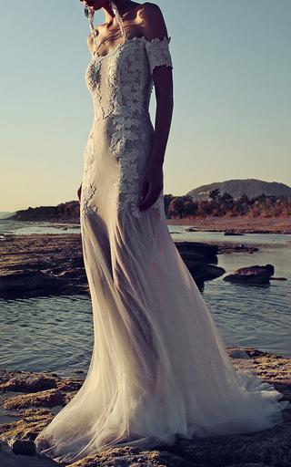 Medium costarellos white dotted swiss illusion gown