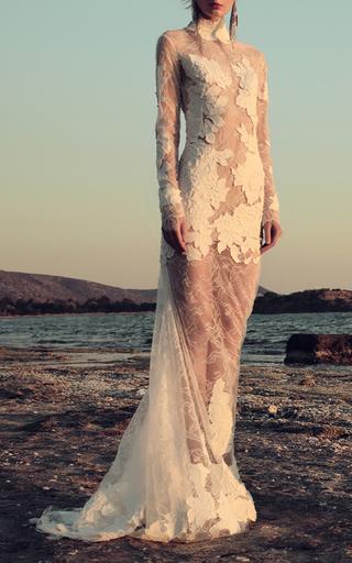 Medium costarellos white paisley lace bodice gown