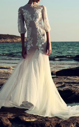 Medium costarellos white paisley lace bodice gown 2