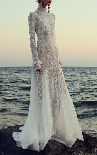 Medium costarellos white dotted swiss victorian gown