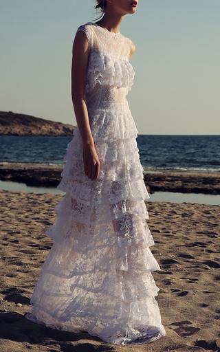 Medium costarellos white floral illusion gown