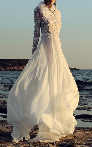 Medium costarellos white dotted swiss sheer panel gown