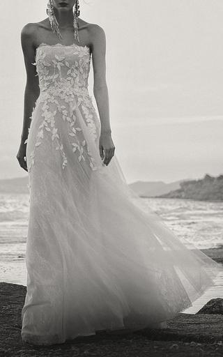 Medium costarellos white floral tulle mini gown