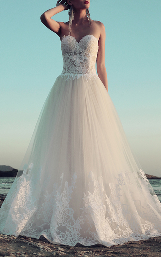 Medium costarellos white fitted lace long gown