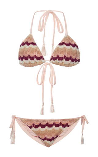 Medium suboo pink ombre knit string bikini set