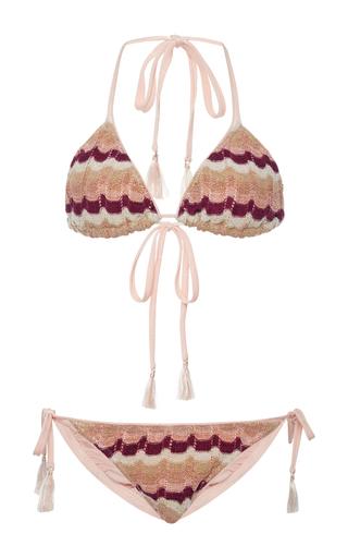 Medium suboo pink ombre knit string bikini set
