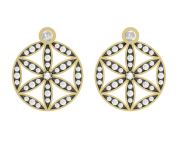 Medium noor fares gold seed of life dormouse earrings in yellow gold with blue moonstone diamonds