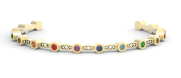 Medium noor fares gold seed of life mandorla cuff in yellow gold with various coloured stones diamonds