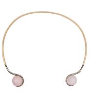 Medium noor fares silver tilsam choker in rose quartz with grey gold white diamonds