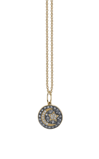 Medium sydney evan gold small moon and star medallion charm