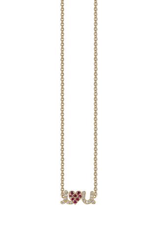 Medium sydney evan red i love u necklace
