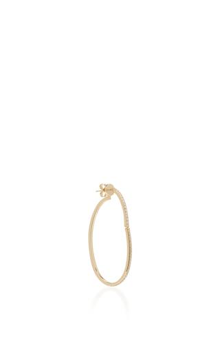 Medium paige novick gold 18k yellow gold diamond open oval hoop