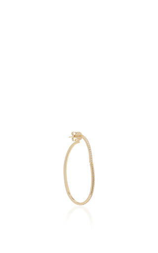 Medium paige novick gold 18k yellow gold diamond open oval hoop