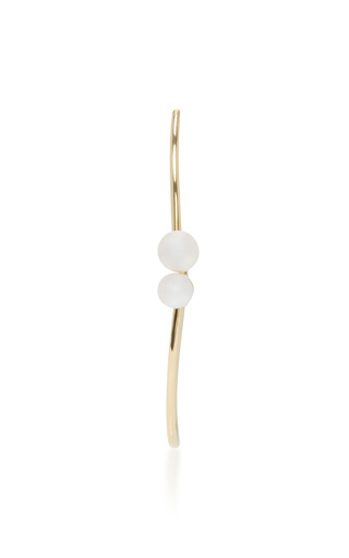 Medium paige novick gold 18k yellow gold pearl open oval hoop