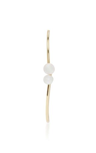 Medium paige novick gold 18k yellow gold pearl open oval hoop