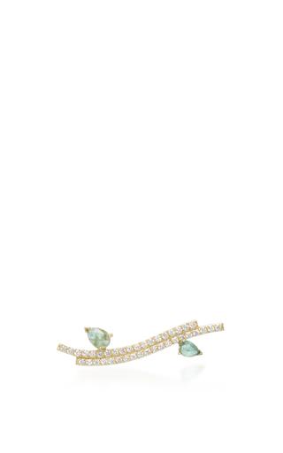 Medium paige novick green 18k yellow gold diamond and emerald ear cuff