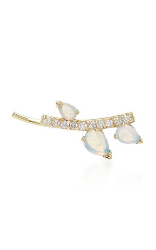 Medium paige novick blue 18k yellow gold diamond and opal ear cuff