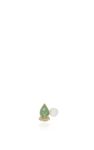 Medium paige novick green 18k yellow gold pearl and emerald stud