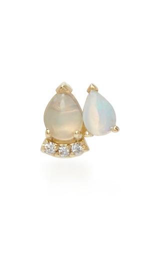 Medium paige novick blue 18k yellow gold diamond and opal stud