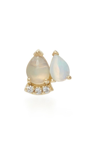 Medium paige novick blue 18k yellow gold diamond and opal stud