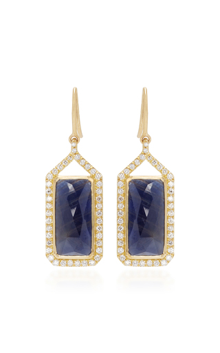 Medium jamie wolf gold sapphire and white diamonds rectangle drop earrings