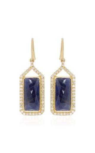 Medium jamie wolf gold sapphire and white diamonds rectangle drop earrings