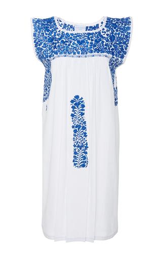 Medium mi golondrina white cielo azul hand embroidered dress