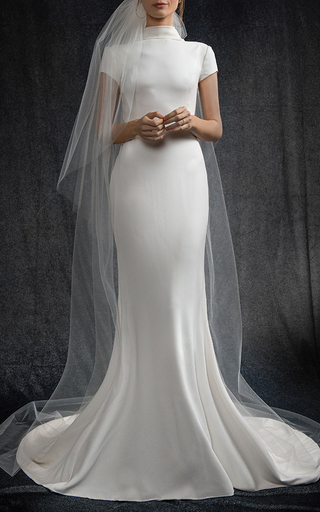 Medium elizabeth kennedy white high neck cap sleeve gown with open back