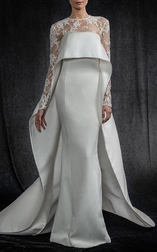 Medium elizabeth kennedy white strapless gown with overcape