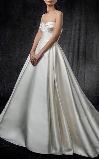 Medium elizabeth kennedy white draped bodice gown with full skirt