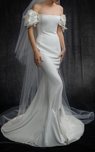 Medium elizabeth kennedy white off the shoulder gown with draped sleeve