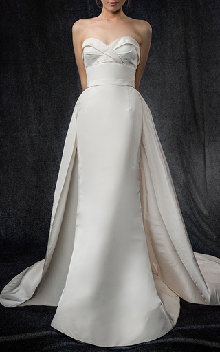 Medium elizabeth kennedy white draped bodice gown with overskirt