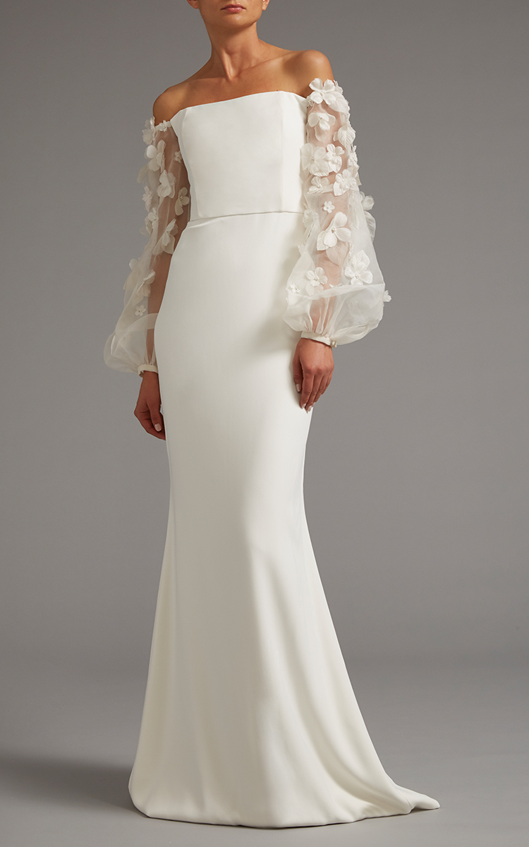 Off The Shoulder Gown With Sheer Embroidered Sleeves