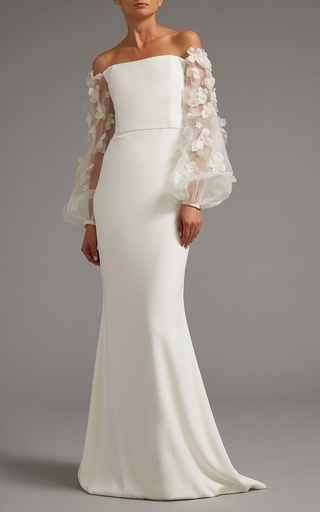 Medium elizabeth kennedy white off the shoulder gown with sheer embroidered sleeves