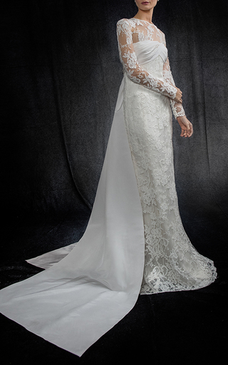 Medium elizabeth kennedy white lace column gown with back tie