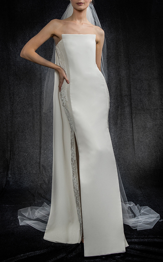 Medium elizabeth kennedy white column gown with lace side panels and back drape