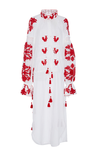 Medium yuliya magdych red chestnut cotton yacht dress