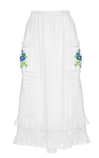 Medium flow the label white embroidered midi skirt