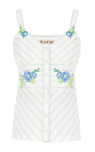 Medium flow the label white stripe embroidered sleeveless top