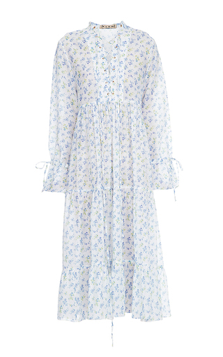 Medium flow the label floral lace up blouson dress