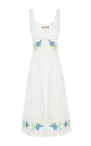 Medium flow the label stripe stripe embroidered dress