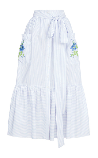 Medium flow the label white stripe embroidered skirt